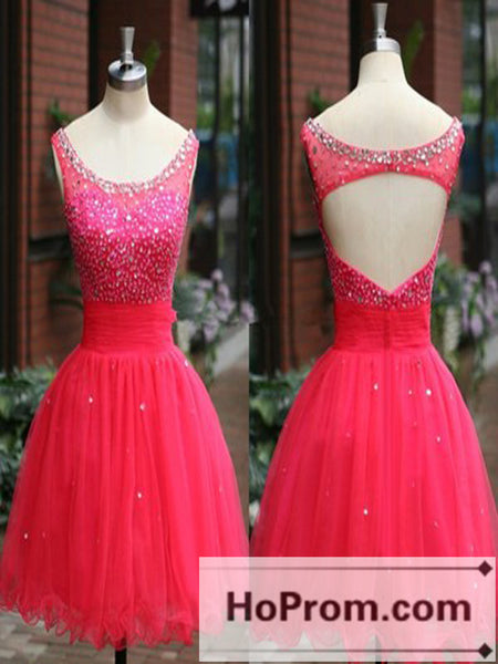 Backless Beaded Red Tulle Short Prom Dresses Homecoming Dresses