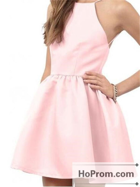 Open Back Pink Satin Prom Dresses Homecoming Dresses