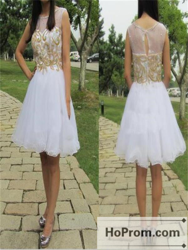White Short Gold Applique  Prom Dresses Homecoming Dresses