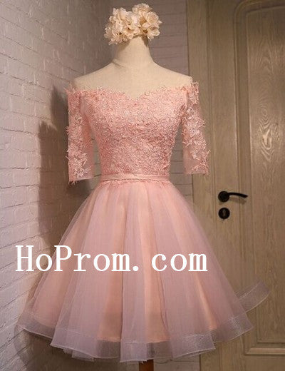 Light Pink Prom Dresses,Half Sleeve Prom Dress,Short Evening Dress