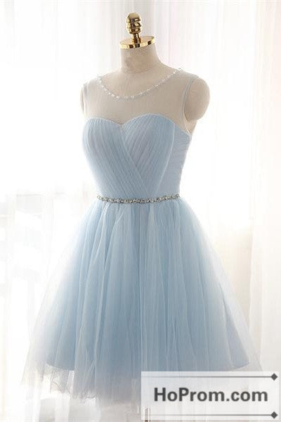 Simple Baby Blue Short  Prom Dresses Homecoming Dresses