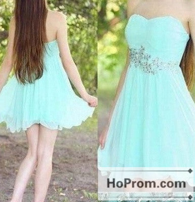 A-Line Sweetheart Mint Chiffon Prom Dresses Homecoming Dresses