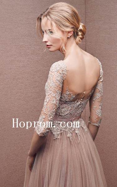 A-Line Applique Prom Dresses,Long Sleeve Prom Dress,Evening Dress