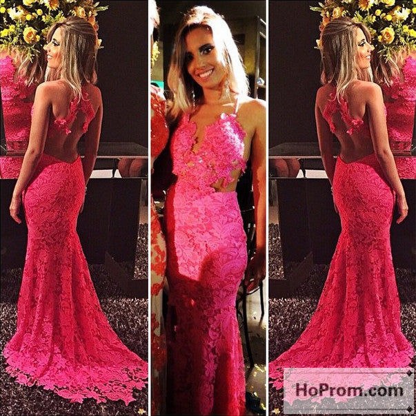 Backless Lace Hot Pink Long Prom Dress Evening Dresses