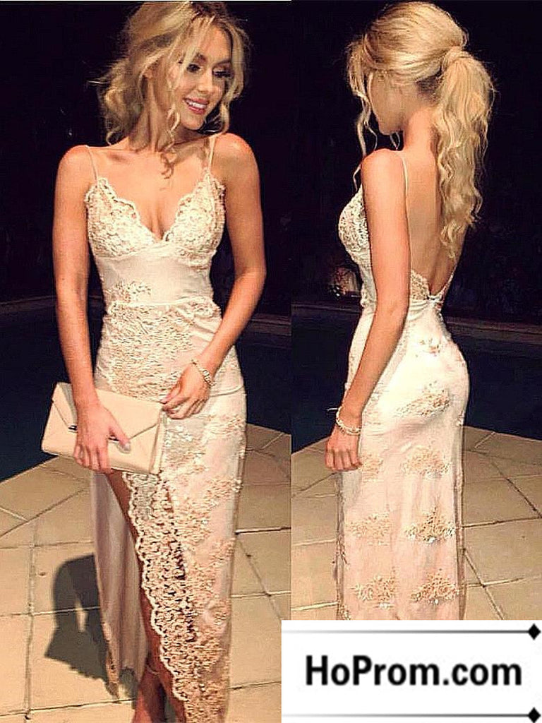 Side Split Lace Backless Prom Dress Evening Dresses