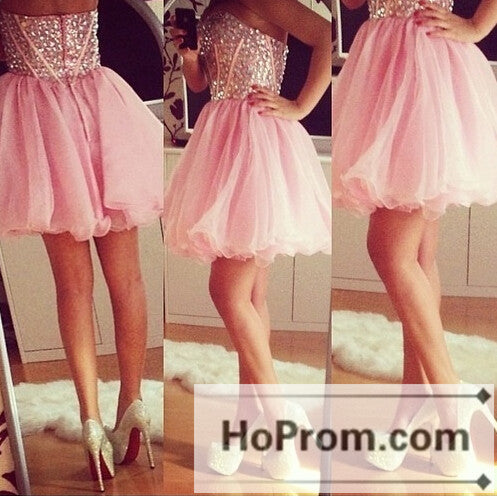 Sweetheart Short Tulle Corset Prom Dresses Homecoming Dresses