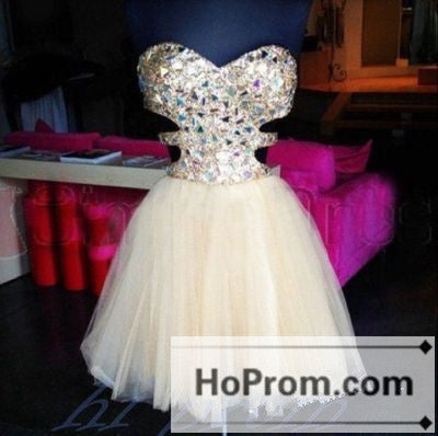 A-Line White Beading Short Prom Dresses Homecoming Dresses