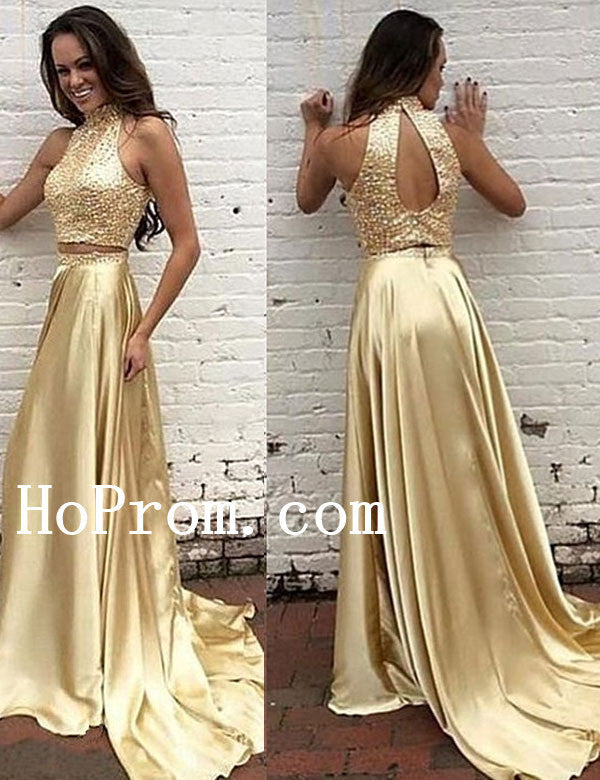 High Neck Gold Prom Dresses,Beading Prom Dress,Evening Dress