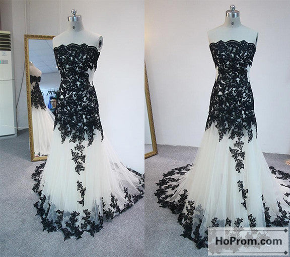 Strapless Black Applique Tulle Prom Dress Evening Dresses