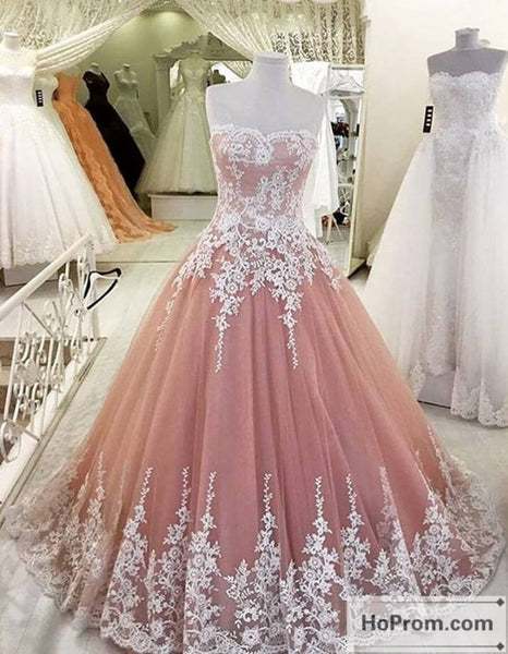 Strapless Pearl Pink Lace Prom Dress Evening Dresses