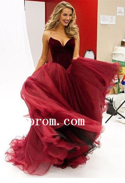 Sweetheart Prom Dresses,Long Tulle Prom Dress,Evening Dress