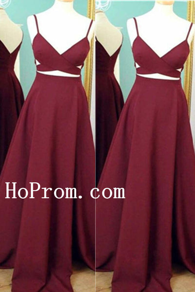 Spaghetti Straps Prom Dresses,Burgundy Prom Dress,Evening Dress