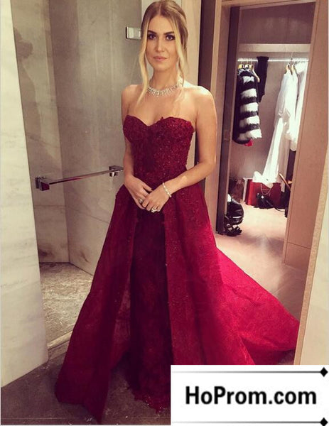 Burgundy Long A-Line Prom Dresses Evening Dress