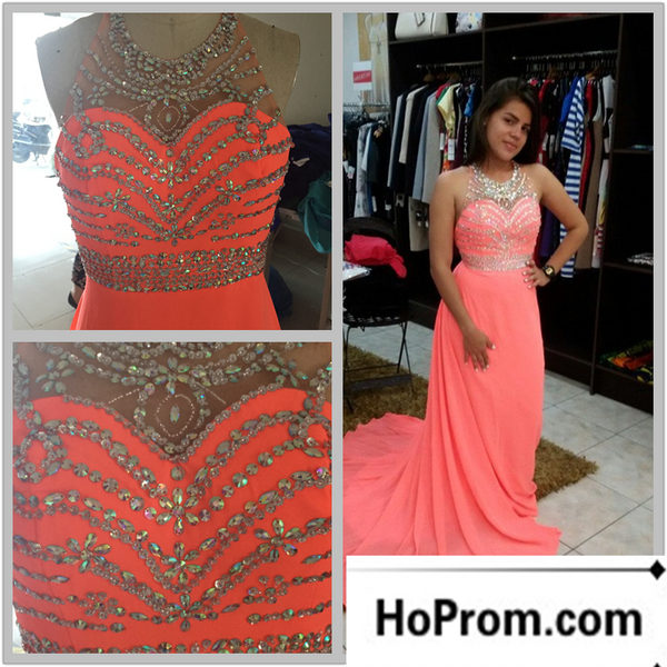 A-Line High Neck Beading Prom Dress Evening Dresses