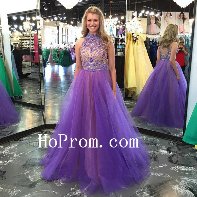 Purple Beads Prom Dresses,High Neck Prom Dress,Evening Dress