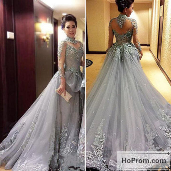 Tulle Long-Sleeves High-Neck Prom Dress Evening Dresses
