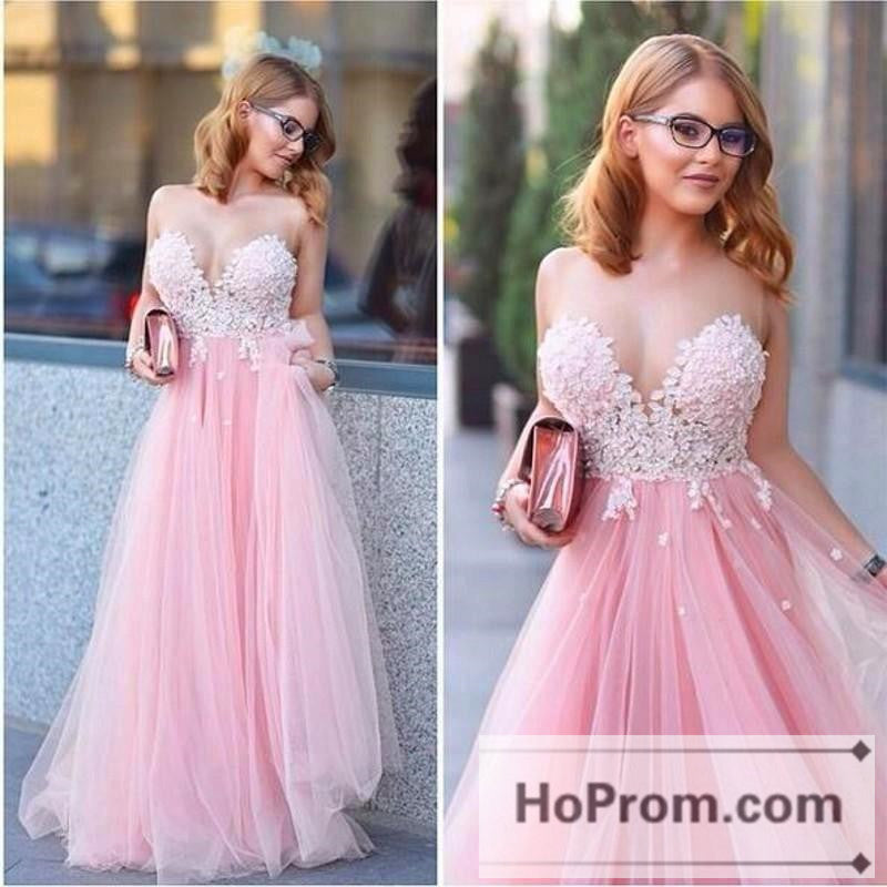Tulle Sleeveless A-line Lace Prom Dresses Evening Dress