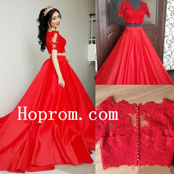 Short Sleeve Prom Dresses,Two Piece Prom Dress,Evening Dress