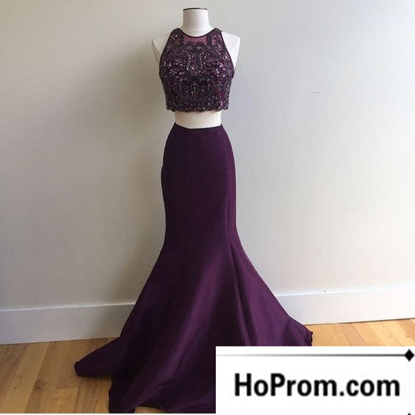 Mermaid Beaded Purple Two Piece Prom Dresses Evening Dress