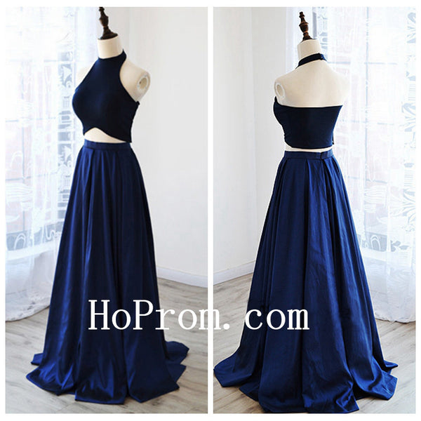 Black Blue Prom Dresses,Halter Long Prom Dress,Evening Dress