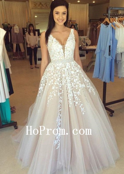 V-Neck Prom Dresses,Whte Applique Prom Dress,Evening Dress