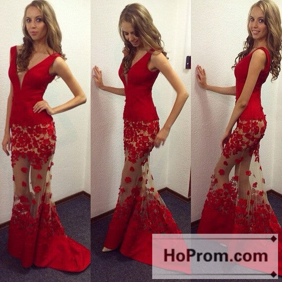 Sleeveless Red Mermaid Long Prom Dresses Evening Dress