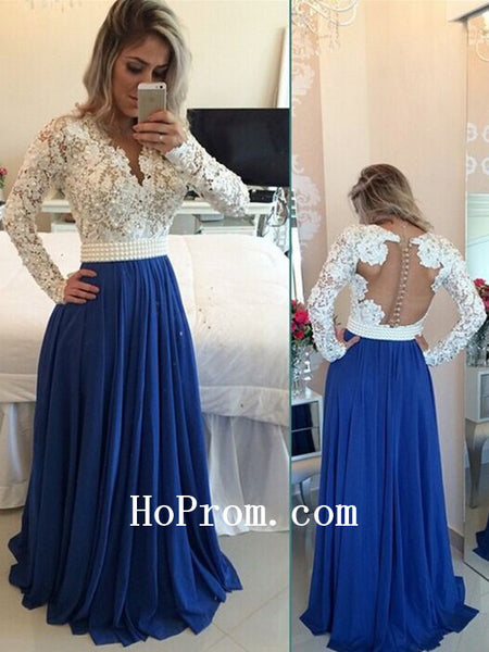 White Lace Prom Dresses,Blue Chiffon Prom Dress,Evening Dress