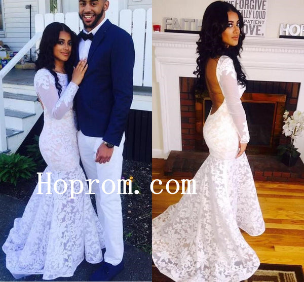 Long Sleeve Prom Dresses,White Lace Prom Dress,Evening Dress