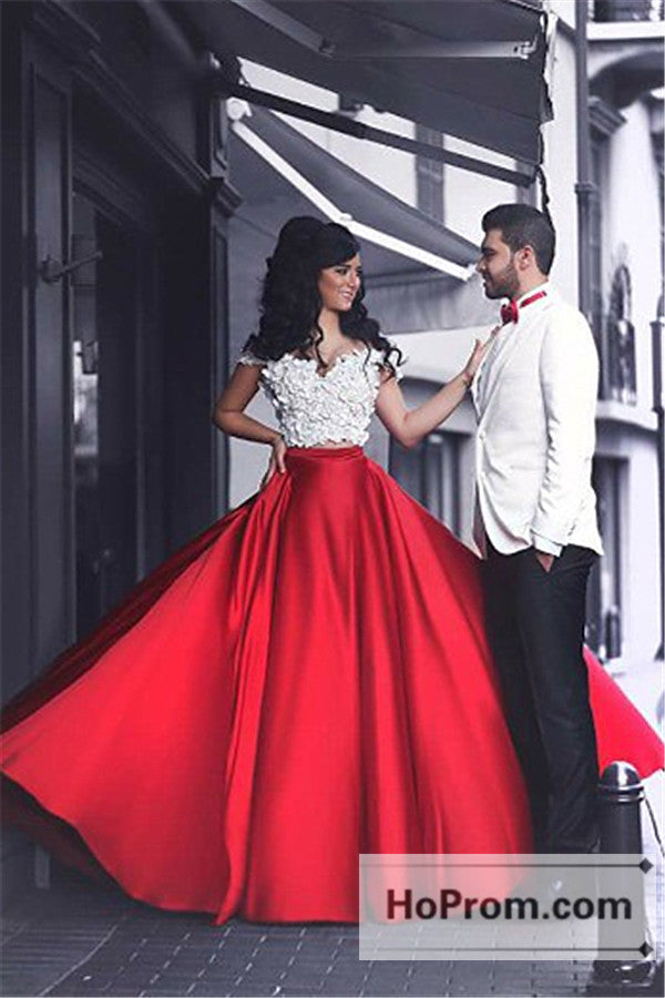 Two Piece A-Line Off Shoulder Prom Dresses Evening Dress