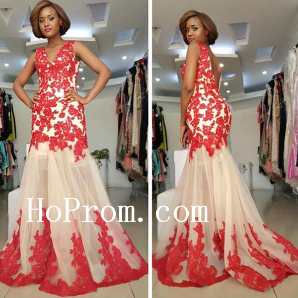 Red Applique Prom Dresses,Sleeveless Prom Dress,Evening Dress