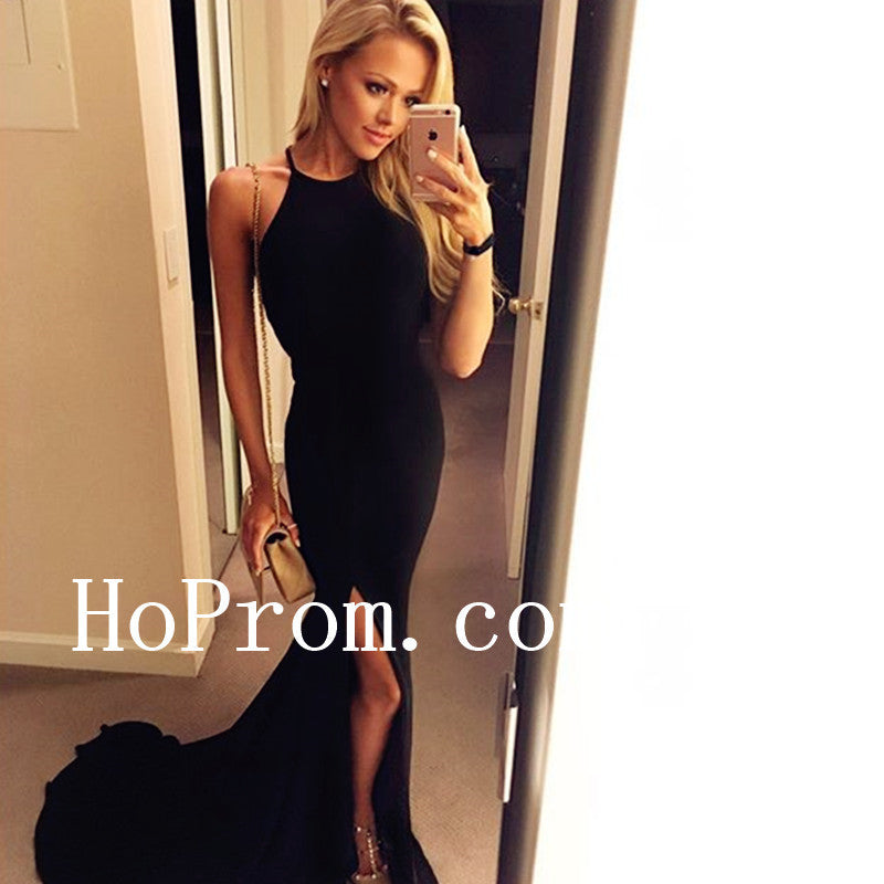 Split Halter Prom Dresses,Black Prom Dress,Evening Dress