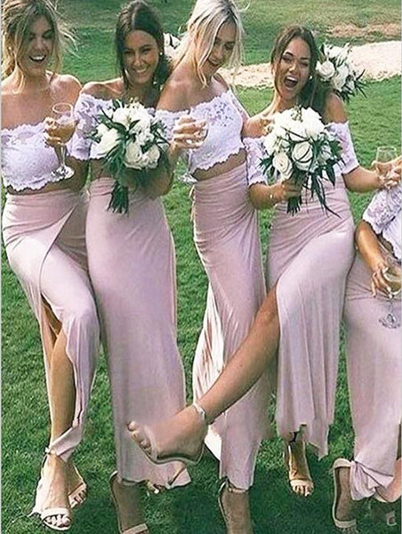 Chiffon Princess Lace Scoop Bridesmaid Dresses Floor Length