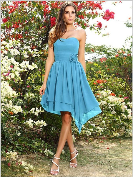 Princess Chiffon Sweetheart Bridesmaid Dresses,Strapless Short Bridesmaid Dresses