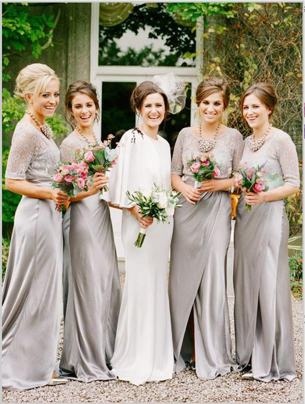 Princess 1/2 Sleeves Satin Bridesmaid Dresses Floor Length