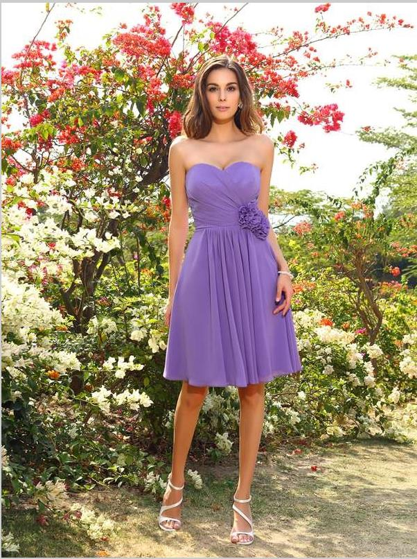Princess Hand-Made Flower Bridesmaid Dresses,Chiffon Short Bridesmaid Dresses