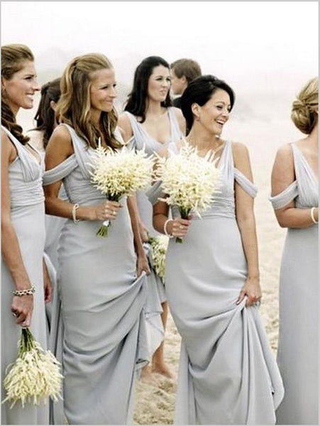 Sheath Chiffon V-neck Sleeveless Bridesmaid Dresses Floor Length