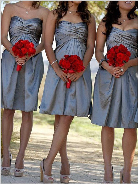 Column Sweetheart Strapless Bridesmaid Dresses,Satin Short Bridesmaid Dresses