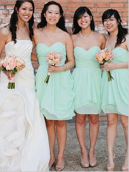 Princess Chiffon Strapless Short Bridesmaid Dresses