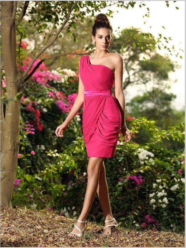 Sheath Chiffon One Shoulder Bridesmaid Dresses,Sleeveless Short Bridesmaid Dresses