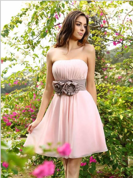 Princess Chiffon Bridesmaid Dresses,Pleats Sleeveless Short Bridesmaid Dresses