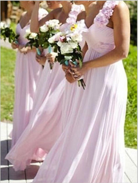 Princess Chiffon One Shoulder Bridesmaid Dresses Floor Length