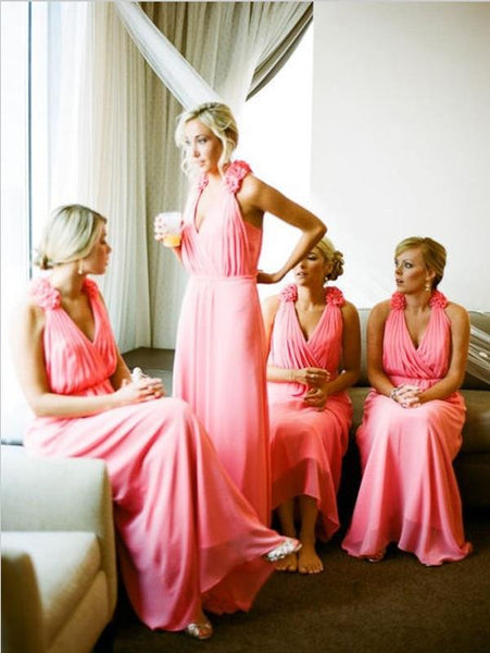 Princess Chiffon V-neck Bridesmaid Dresses Floor Length With Hand-Made Flower