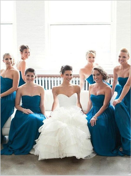 Princess Chiffon Strapless Bridesmaid Dresses Floor Length