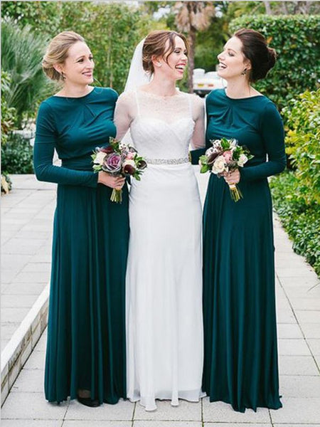 Princess Long Sleeves Jersey Bridesmaid Dresses Floor Length