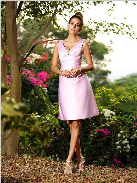 Princess V-neck Pleats Bridesmaid Dresses,Short Satin Bridesmaid Dresses