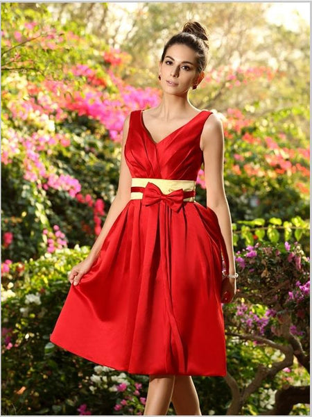 Princess V-neck Pleats Satin Bridesmaid Dresses With Bowknot