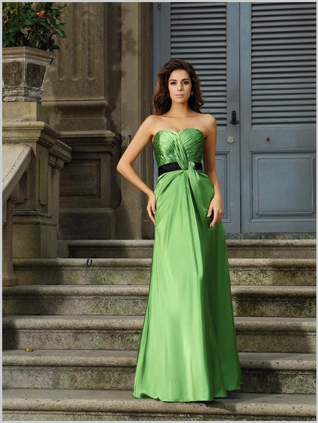 Princess Strapless Bridesmaid Dresses,Long Silk like Satin Bridesmaid Dresses