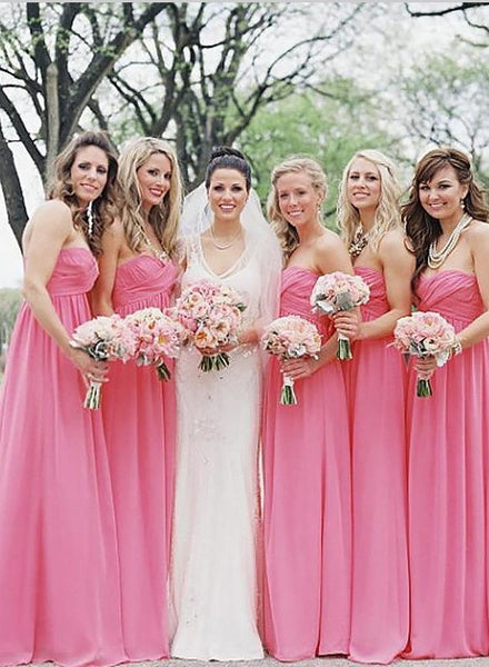 Princess Chiffon Sleeveless Bridesmaid Dresses Floor Length