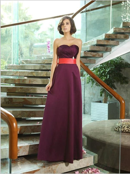 Princess Strapless Satin Bridesmaid Dresses Floor Length