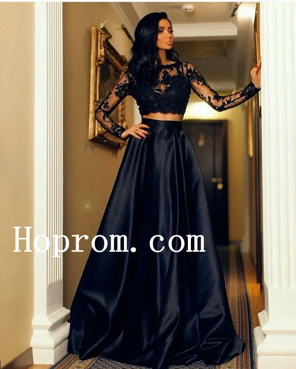 Long Sleeve Prom Dresses,High Neck Prom Dress,Evening Dress